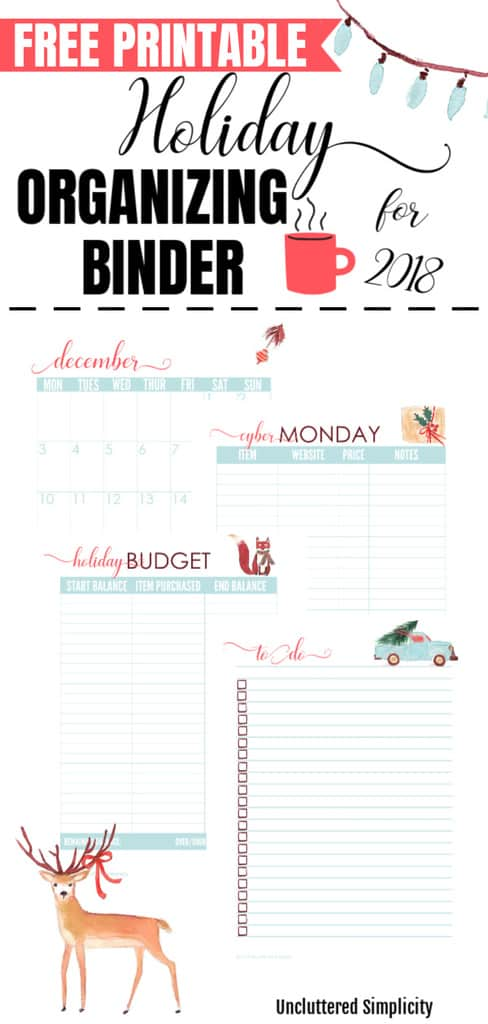 Free Printable Holiday Planner For 2019