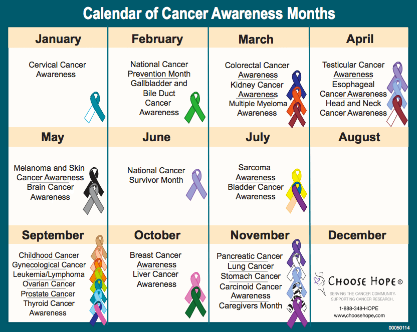 Printable Calendar 2018 Yearly Calendar Download Calendar Of Cancer Awareness Months Search Results