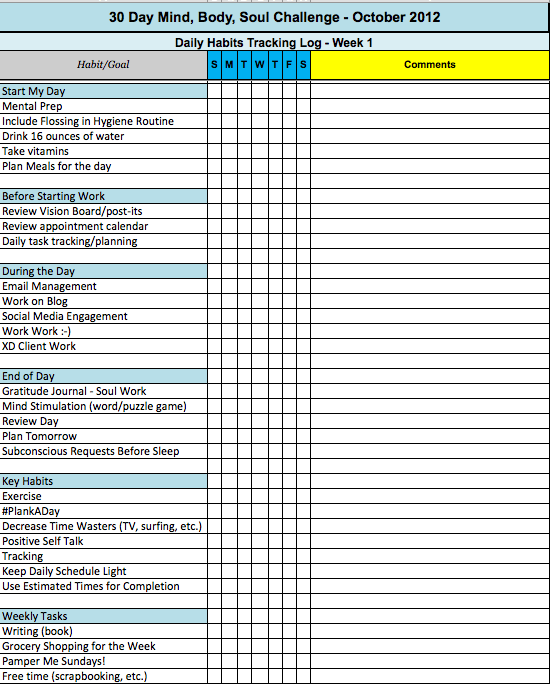 daily habits tracking example excel spreadsheet
