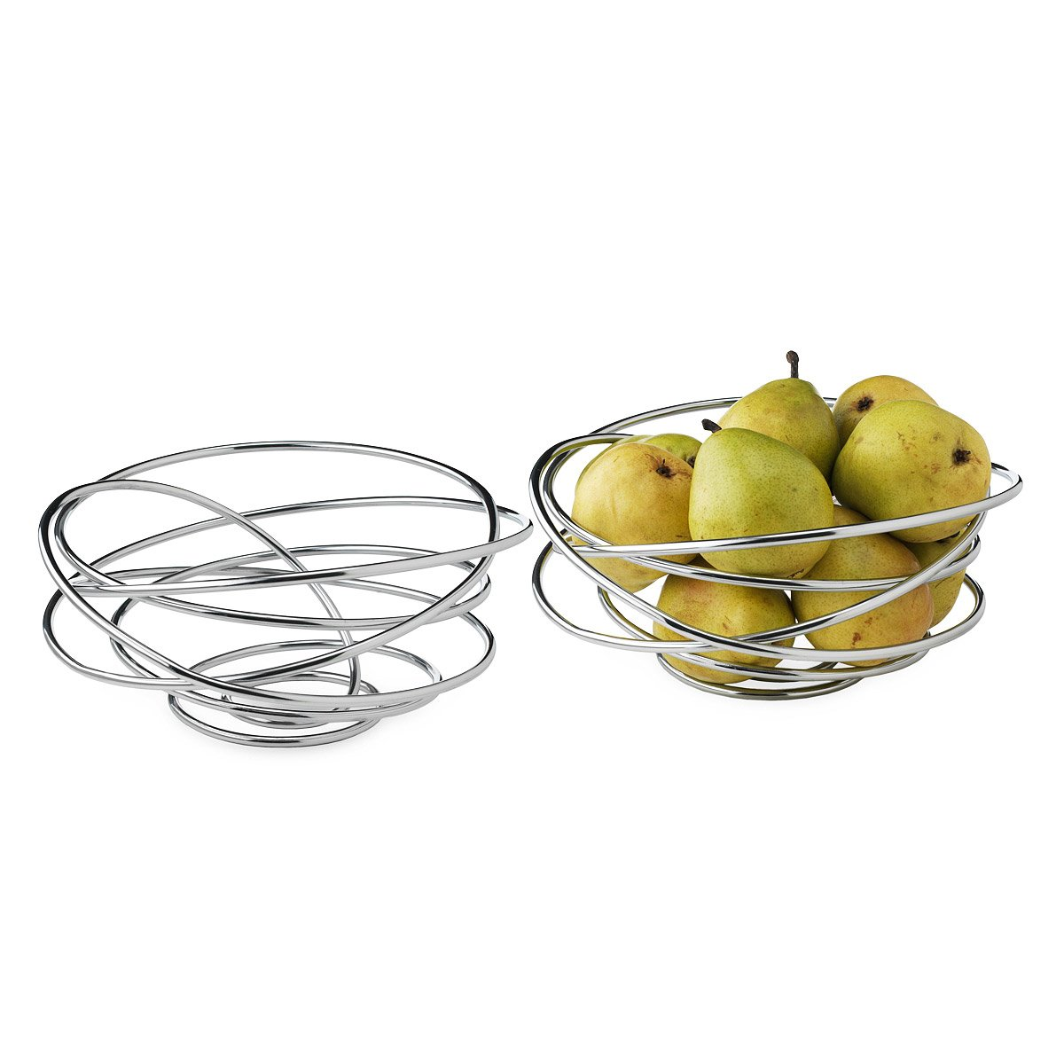 Modern Metal Fruit Bowl Loop De Loop Bowl Made From Single Piece Of Chrome Wire Fruits