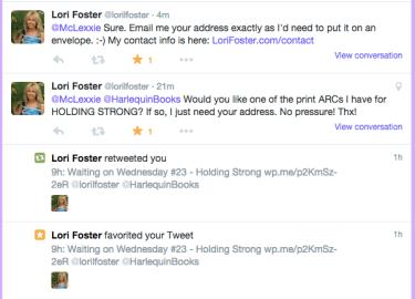 Lori Foster tweets