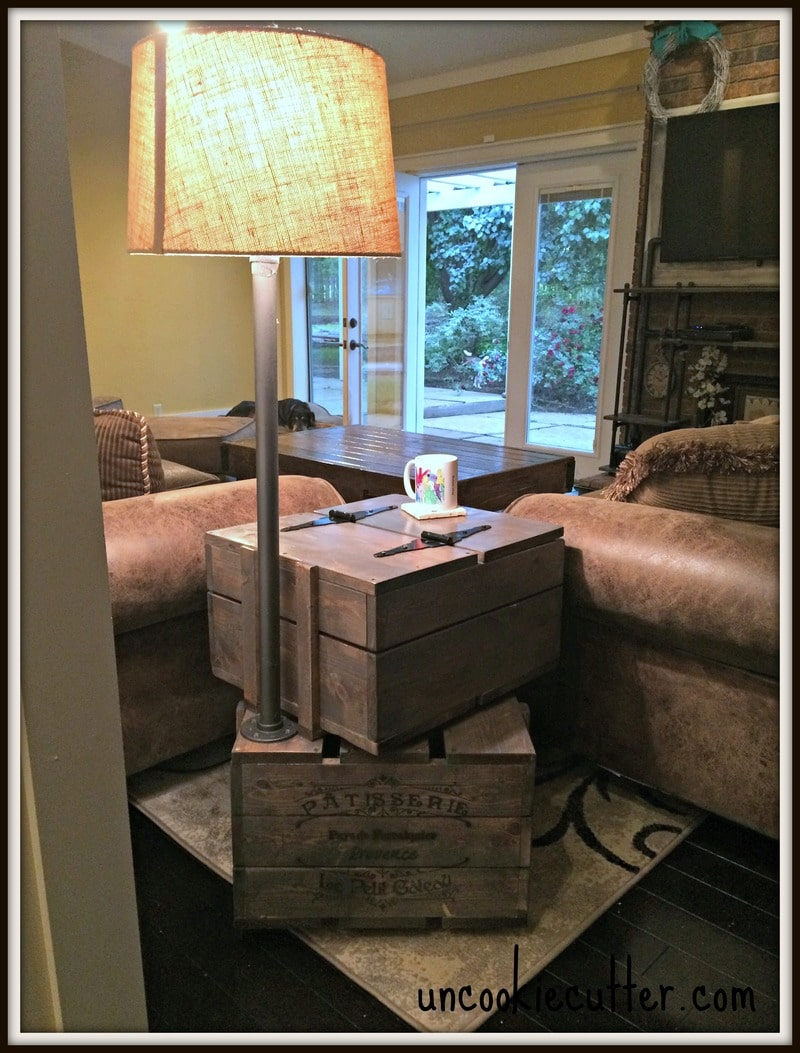 End Table With Lamp Built In End Table Stacked Crates With Storage And Lamp Uncookie Cutter