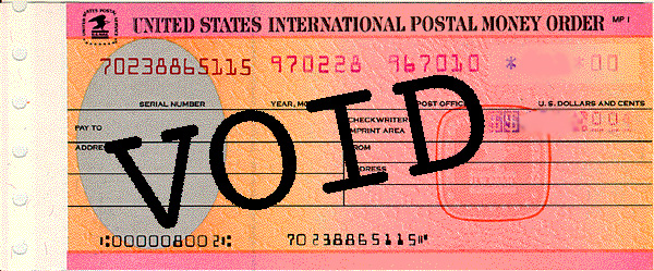International/Private) BLANK Postal Money Order Circulation to End