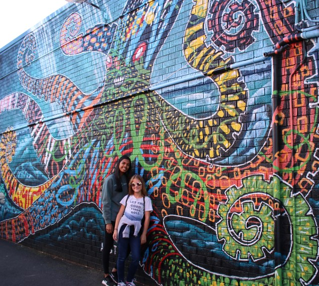 Eve and Maggie Byron Bay colorful wall