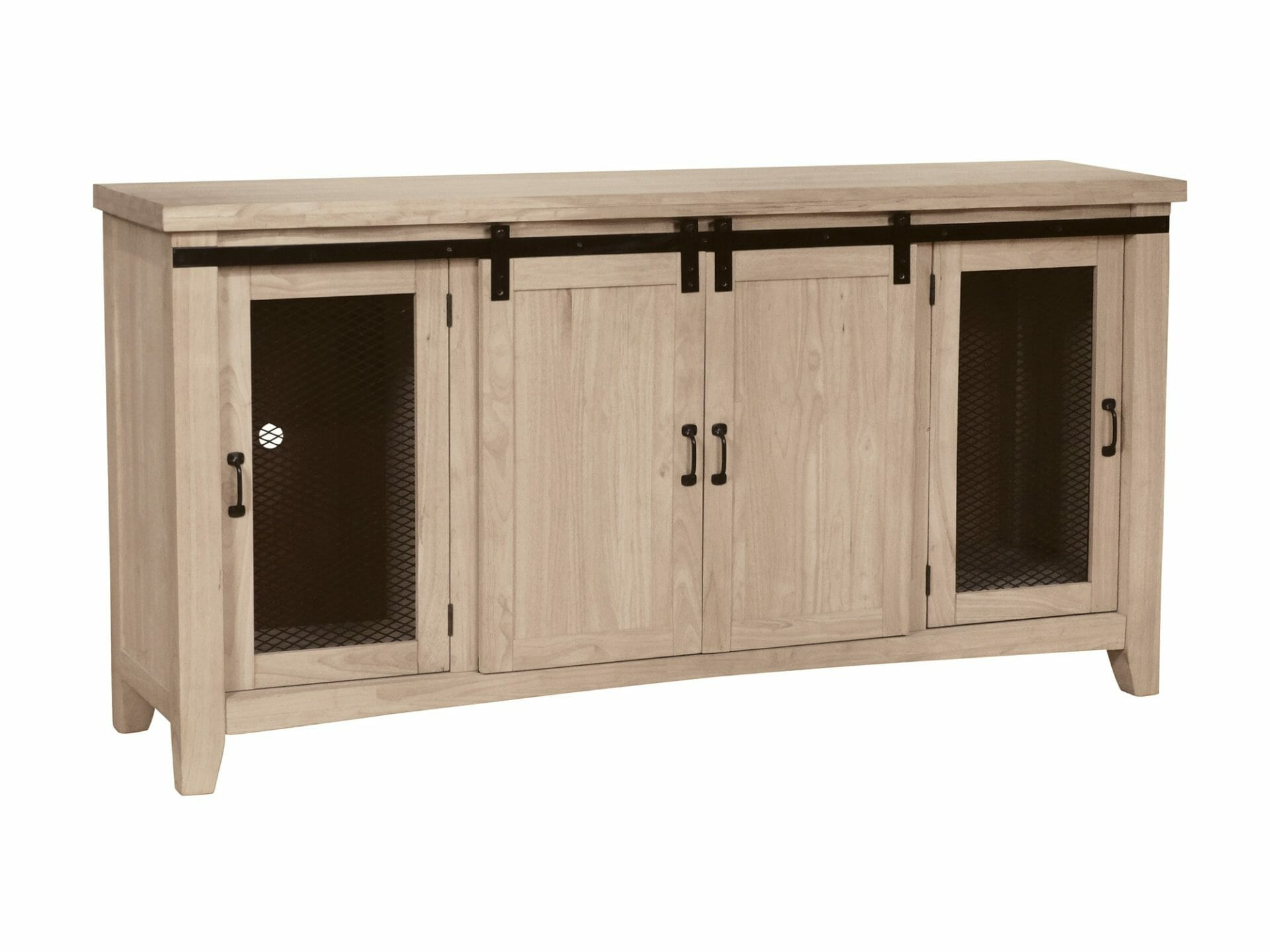 Sliding Barn Door Tv Console Unfinished Furniture Of Wilmington