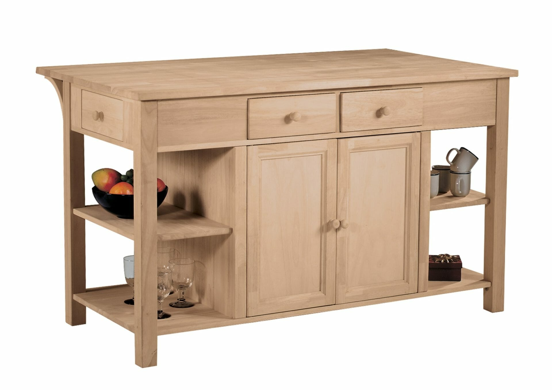 Kitchen Island With Breakfast Bar Wc 6034 Parawood Unfinished Furniture Of Wilmington