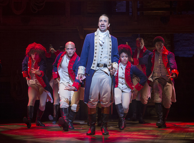 """Manuel Miranda in the title role of the musical """"Hamilton"""" at the Richard Rodgers Theatre in New York."""
