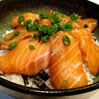 Salmon Rice Bowl with Soy-Wasabi Sauce (Sake-Don)