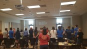 "BCM members worshiping and singing ""Everlasting God"" in Nesbitt 3110. Photography courtesy of Leah Sanders."
