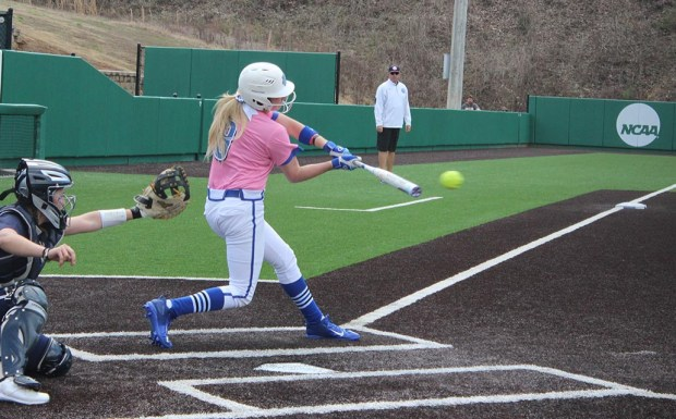 Freshman Shelby Hammontree smashes a hit during game one of Sunday's doubleheader. Hammontree was 7-8 with six RBIs in the doubleheader with three home runs and two doubles in game two. (Photo by Jake Cantrell)