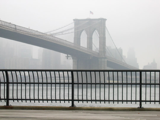 Brooklyn Bridge through the mist