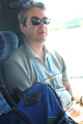 Geoff on a bus