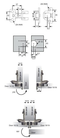 270 Degree Cabinet Hinge - Cabinet Hinges - Unico Components