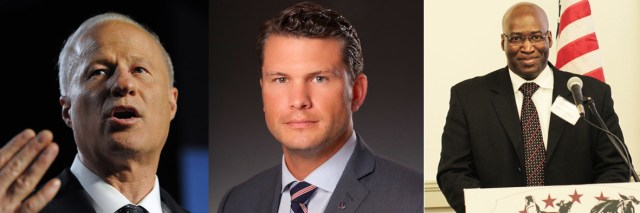 (L to R) Congressman Mike Coffman, Fox TV Journalist Pete Hegseth and USL spokesman Dr. Johnnie L. Simpson, Jr.  putting pressure on VA to keep its promises to American military veterans