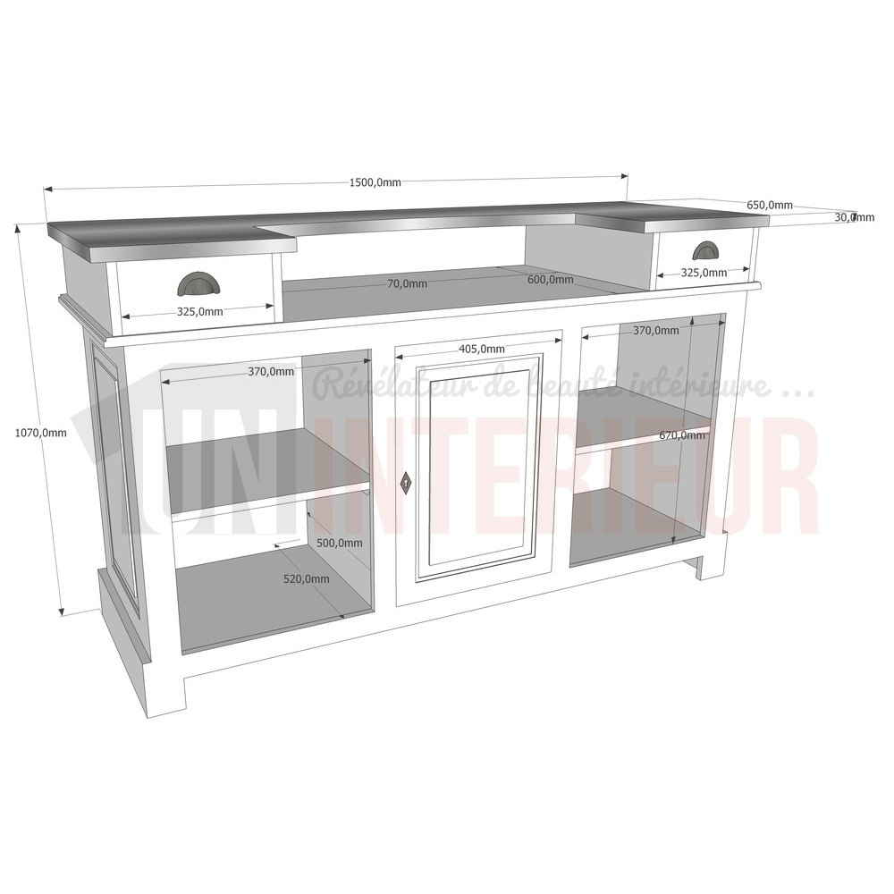 Meuble De Bar Meuble Bar Comptoir De Bistrot 150cm En Pin Massif Chester