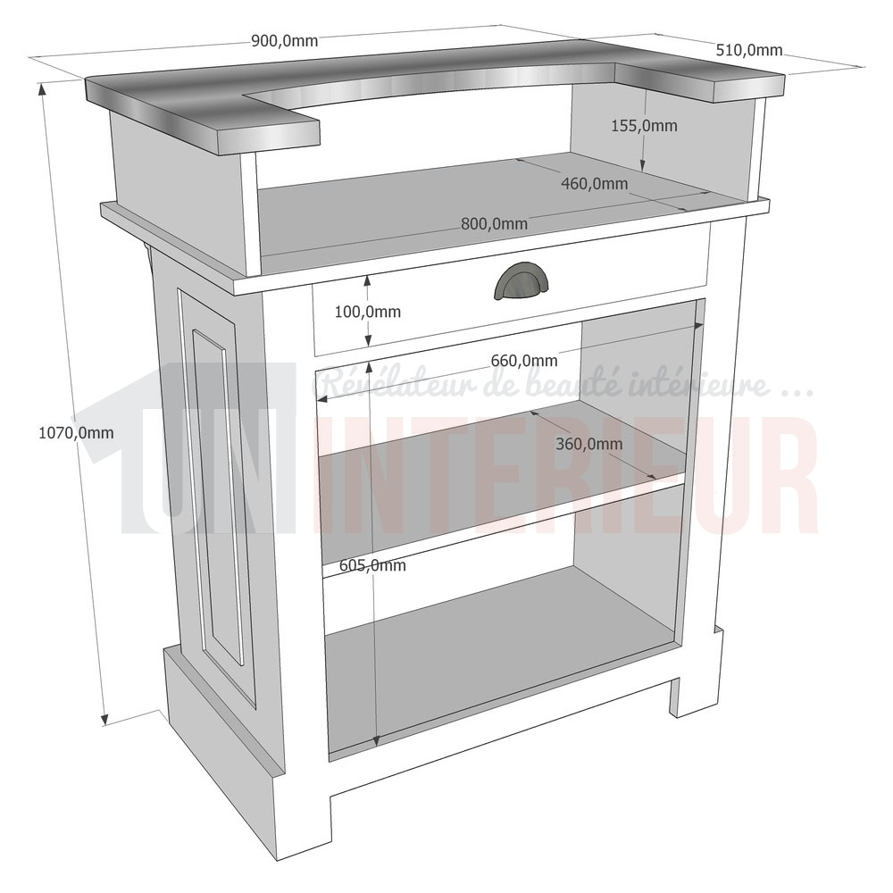 Meuble De Bar Meuble Bar Bistrot En Pin Massif 90cm Chester