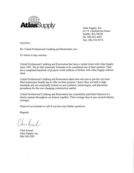 Customers Letters - Premium Building Envelope and Restoration - customer reference letter