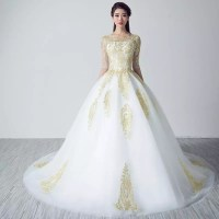 White Wedding Dresses with Gold Lace Applique - Uniqistic.com