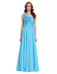 One Shoulder Long Chiffon Bridesmaid Dress - Uniqistic.com