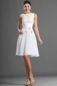 Knee Length Modest White Chiffon Lace Short Bridesmaid ...