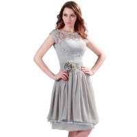 Gray Knee Length Short Chiffon Bridesmaid Dress ...