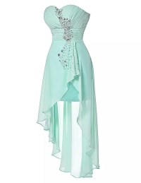 Turquoise Strapless Short Front Long Back Bridesmaid Dress ...