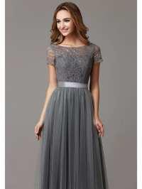 Gray Lace Tulle Floor Length Short Sleeves Sheer Neckline ...