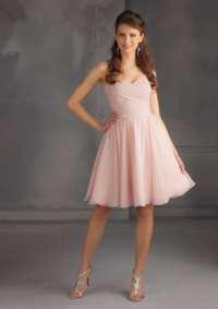 Short Chiffon Blush Pink Knee Length Bridesmaid Dress ...