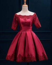 Off Shoulder Wine Red Short Bridesmaid Dress - Uniqistic.com