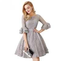 Gray 3/4 Long Sleeve Lace Short Bridesmaid Dress ...