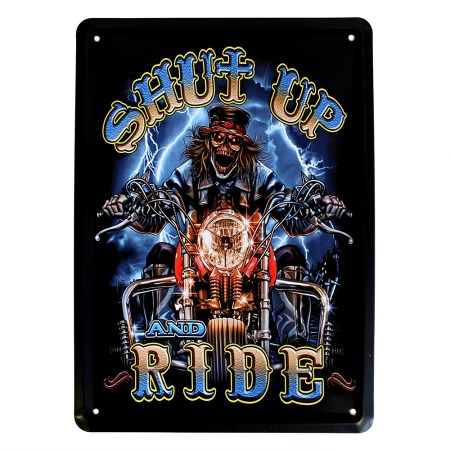 shut up and ride metal plate wall decoration