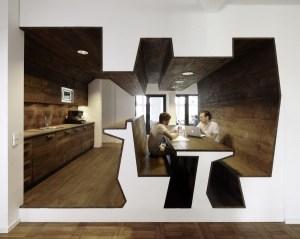 壁と椅子が一体化