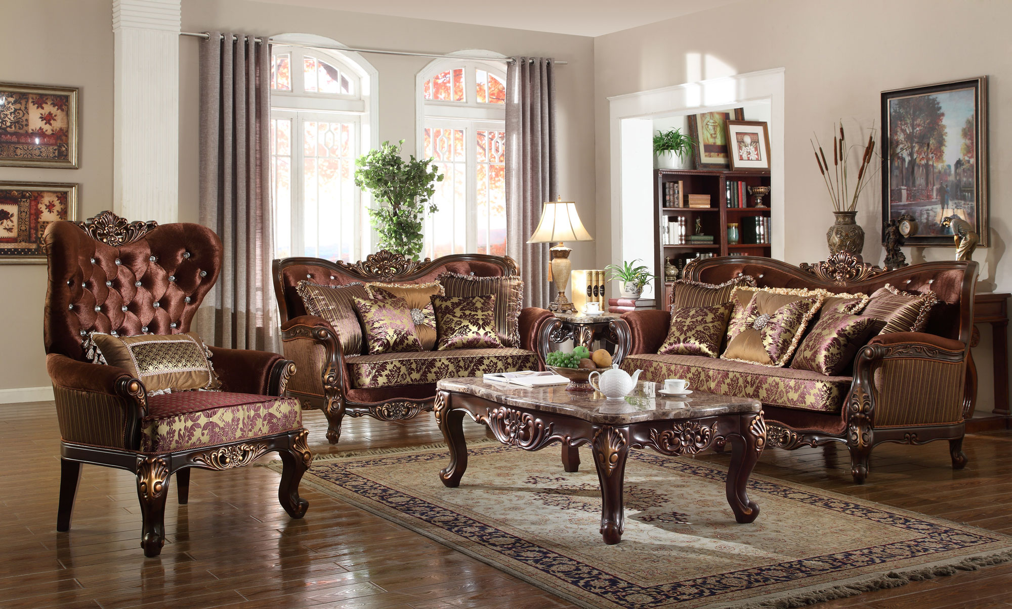 Living Room In French French Provincial Living Room Set 685 In Brown Fabric