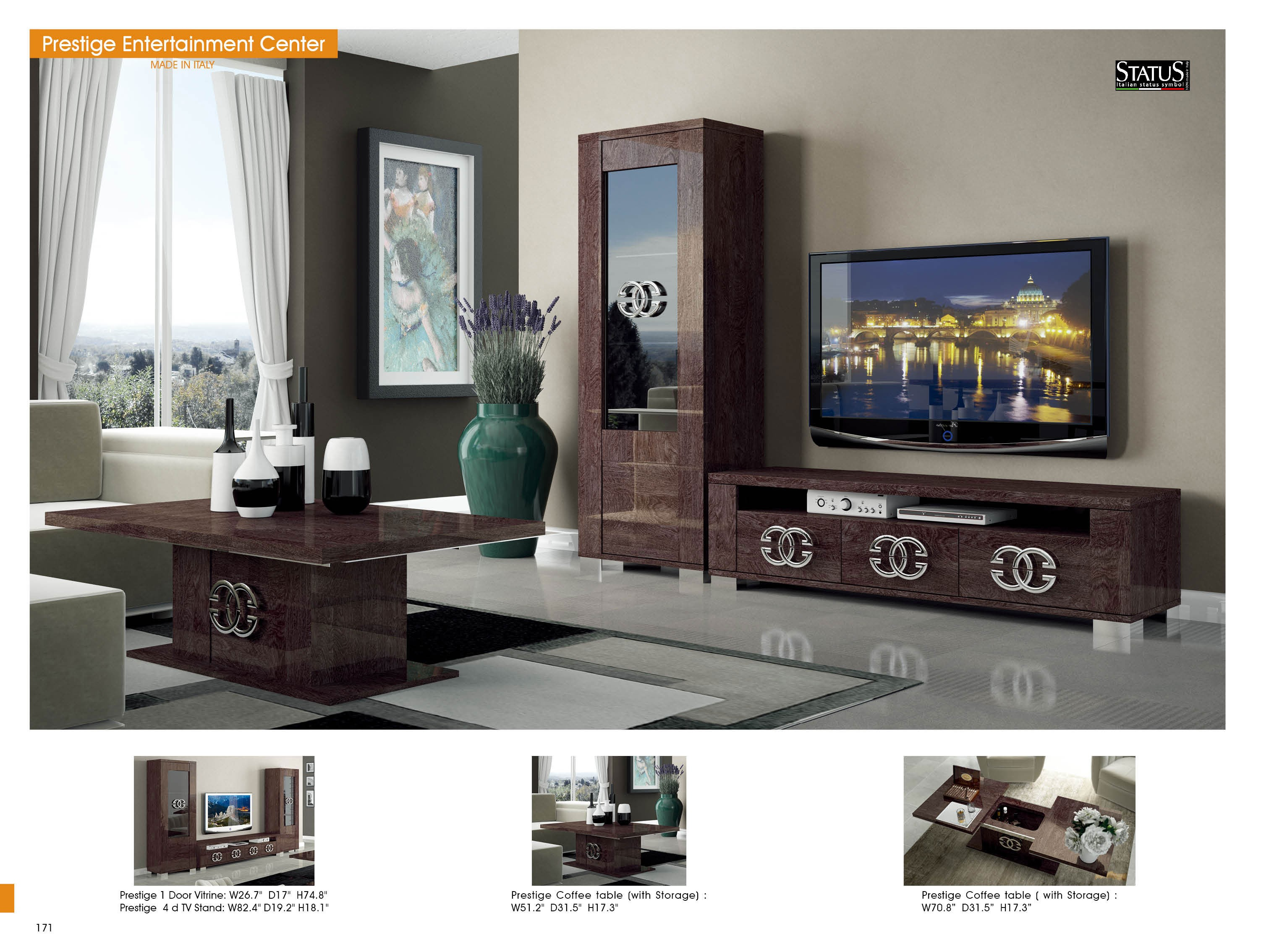 Large Wall Units For Living Room Prestige Brown Glossy Italian Wall Unit Tv Stand By Status Italy