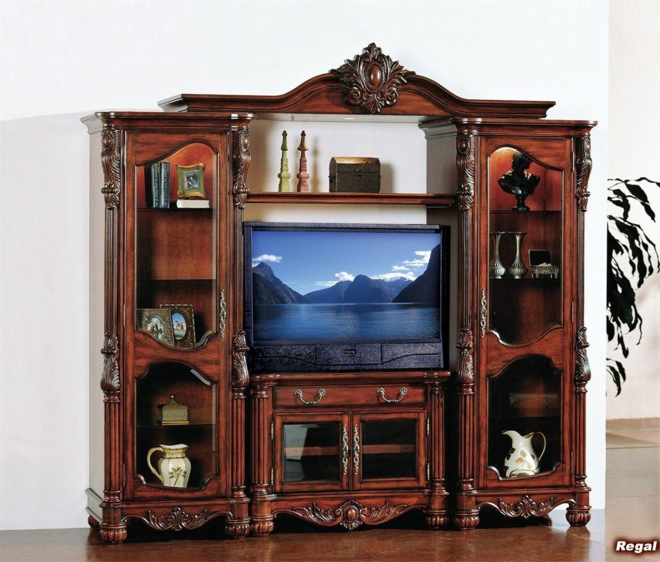 Large Wall Units For Living Room Regal Large Classic Wall Unit Cherry Solid Wood