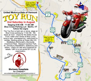 Vermont Toy Run Route - Map