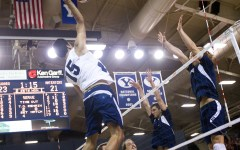 BYU's Taylor Sander goes up for a kill in a recent match against UC Irvine. Sander participated on the U.S. Pan-American Cup team over the summer. (Photo by Sarah Hill)