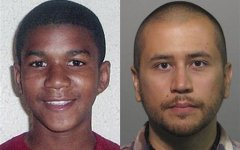 his combo made from file photos shows Trayvon Martin, left, and George Zimmerman. George Zimmerman, 28, the neighborhood watch volunteer who shot 17-year-old Trayvon Martin, was arrested and charged with second-degree murder. (AP photo)