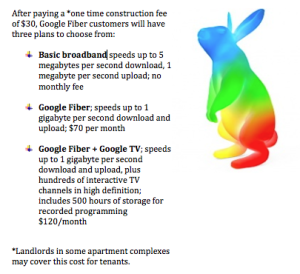 Google Fiber customers can choose from three plans after paying a $30 installation fee. (Information Graphic by Ben Lockhart; Google Fiber Rabbit image courtesy Google)