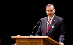 R. Albert Mohler addresses a full house in the Varsity Theater. Photo by Sarah Hill.