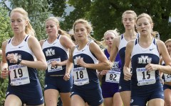 The women's cross country team runs as a pack earlier this season. Photo by Jaren Wilkey/ BYU Photo