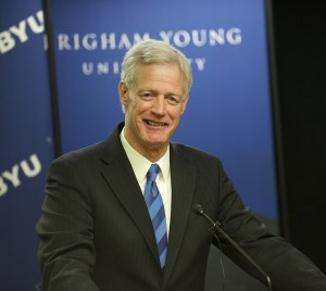 New BYU President Kevin J. Worthen speaks at press conference following President Eyring's announcement. Photo by Sarah Hill.
