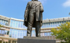 The statue of Brigham Young stands in front of the Smoot Administration Building on BYU's campus. (Elliott Miller)
