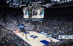 A rendering of what the Marriott Center will look like after renovations are finished at the end of the summer. It will include new LED scoreboards and lower-bowl seating. (BYU Athletics)