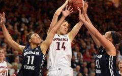 BYU's Xojian Harry and Morgan Bailey defend Sunny Greinacher in the Cougars' 61-55 upset of Gonzaga Monday. (Twitter)