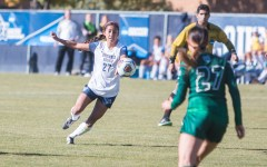 Junior midfielder Elena Medeiros traps the ball in the first round NCAA game against UVU. Medeiros scored the game-winning goal for the Cougars to advance to round two of the NCAA tournament. ( Maddie Dayton)