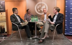 Eric Dursteler, Cindy Brewer, Craig Harline and Nick Mason discuss the history of Christian missionaries in Europe in the David M. Kennedy Center (Brianna Vail)