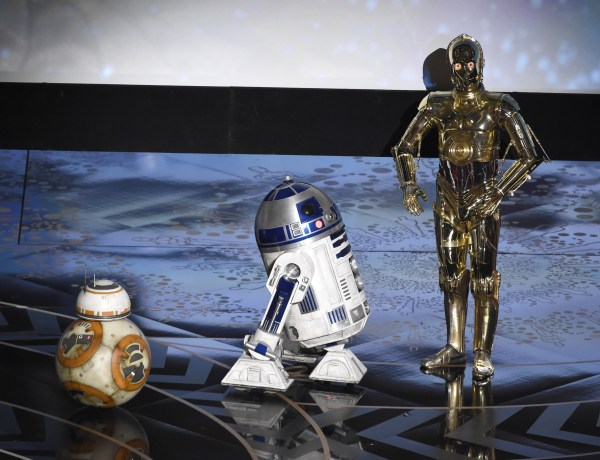 "Droid characters from ""Star Wars"", BB-8, from left, R2-D2, and C-3PO speak at the Oscars on Sunday, Feb. 28, 2016, at the Dolby Theatre in Los Angeles. (Photo by Chris Pizzello/Invision/AP)"