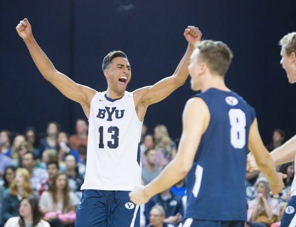 Ben Patch celebrates a point earlier in the season. The Cougars defeated UCSB in five sets on Thursday night to advance to the MPSF championship game. (Universe Archives)