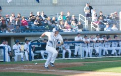 First baseman Colton Shaver runs down the line after making contact. The Cougars fell to UVU 7-6 in 11 innings on Tuesday night. (Natalie Saunders)